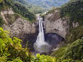 Majestic San Rafael Waterfalls In The Lush Rainforest Of Ecuadorian Amazon poster