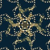 Golden Pattern On Yellow, Brown And Blue Colors With Golden Elements. Vector Oriental Ornament. Seam poster