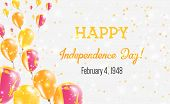 Sri Lanka Independence Day Greeting Card. Flying Balloons In Sri Lanka National Colors. Happy Indepe poster