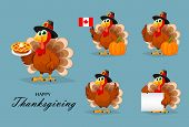 Happy Thanksgiving, Greeting Card, Poster Or Flyer For Holiday. Thanksgiving Turkey, Set Of Five Pos poster