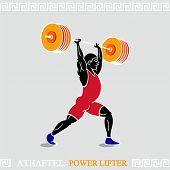 foto of weight lifter  - Greek art stylized heavy weight power lifter - JPG