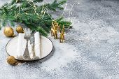 Festive Place Setting For Christmas Dinner On White Rustic Background. Christmas Table Setting With  poster