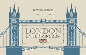Vector Banner Or Postcard With Famous Tower-bridge In London, Uk. Retro Postcard With A British Flag poster