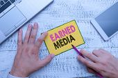 Conceptual Hand Writing Showing Earned Media. Business Photo Showcasing Publicity Gained Through Pro poster