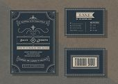 Vintage Vector Wedding Invitation Template Set ,art Deco Invitation Style Collection . poster