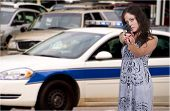 picture of lightbar  - A beautiful police detective woman out protecting and serving the public - JPG