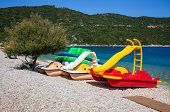 Variety Of Colorful Pedal-boats With Slide On The Beautiful Antisamos Beach Of Kefalonia Island, Ion poster