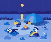 People In Touristic Camp Near River With Tent. Travel, Backpacking Flat Cartoon Vector Illustration. poster