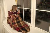 Once Upon A Time. Small Girl Enjoy Reading Christmas Story. Small Child Read Book On Christmas Eve.  poster