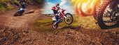 Banner Rider On Mountain Dirtbike Enduro Participates In Motocross, Jumps On Springboard Against Bac poster