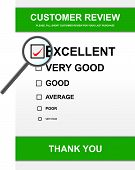 stock photo of poll  - Vector illustration of customer review form with magnifying glass - JPG