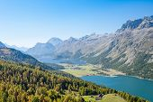 image of engadine  - Aerial view on the Corvatsch hiking resort with Lake Silvaplana and Lake Sils near St Moritz - JPG
