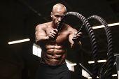 Fitness Athletes Training Using Battle Ropes Intense Workout Team Exercise Challenge In Gym Enjoying poster