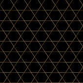 Seamless Geometrical Pattern. Black Background With Golden Ornament. Vector Golden, Repetitive Patte poster