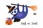 Cute Sloth Character Halloween Holiday Card. Childish Print For T-shirt, Apparel, Cards And Nursery  poster