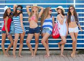 image of spring break  - teens girls in beach wear at summer vacation or spring break - JPG