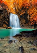 Natural Landscape Scenery Of Waterfall In The Deep Forest, Beautiful Amazing Nature Fall In Jungle A poster