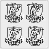 Cricket, Baseball, Lacrosse And Hockey Logos And Labels. Sport Club Emblems With Barbarian. Print De poster