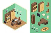 Home Office Isometric. Vector Office Room Interior With Desk, Shelf, Computer, Laptop, Chairs. Isome poster