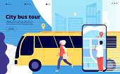 City Bus Tour. Tourists And Urban Bus Vehicle With Cityscape And Map Mobile App. Tourism And Transpo poster