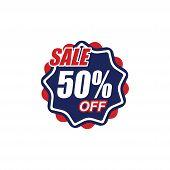 50% Sale Tag Vector Badge Template, 50% Sale Label Collection, Clearance Sale Sticker Emblem, Bargai poster