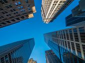 New York skyscrapers bottom view blue sky poster