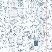 Back To School Vector Elements. Doodle Hand Drawn Icons. All Objects Are Isolated On White. poster