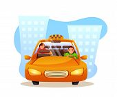 Passenger Sleeping In Taxi Flat Vector Illustration. Angry Yellow Cab Driver Cartoon Character. Curi poster