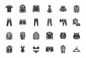 Clothes, Fashion Silhouette Icons. Vector Illustration Included Icon As Jacket, Winter Coat, Sweatsh poster