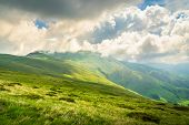 Green Valley Nature Landscape. Mountain Layers Landscape. Summer In Mountain Meadow Landscape. Meado poster