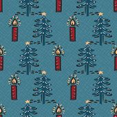 Seamless Pattern.hand Drawn Stylized Christmas Tree. Fir Holly Leaf Forest On Green Background. Trad poster