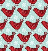 Seamless Pattern. Hand Drawn Christmas Robin Bird Background. Frosty Snowflakes All Over Print. Wint poster