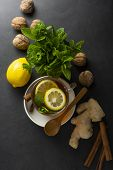 Ginger Tea Cup With Lemons And Mint Leaves On Dark Background. Ginger Tea, Drink Ingredients, Cold A poster