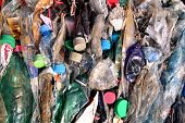 Plastic Bottles On Pile, Ready To Get Recycled. Recycling Of Old Plastic Bottles. Pile Of Packed And poster
