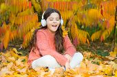 It Is Time To Get In The Mood With Some Great Music. Kid Girl Relaxing Near Autumn Tree With Headpho poster