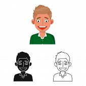 Vector Design Of Guy And Laugh Icon. Collection Of Guy And Happy Vector Icon For Stock. poster