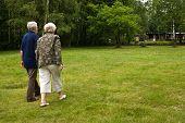 foto of old couple  - outside portrait of an elderly couple in a park - JPG
