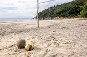 Beach Volleyball. Volleyball On The Sand Under Sunlight And Blue Sky. poster