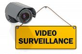 Security Surveillance Camera And Handing Sign With Text Video Surveillance. 3d Rendering Isolated On poster