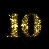 Golden glitter number 10, sparkling gold light and glowing gold particles shine font. Number ten of  poster