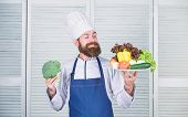 Choose Best Ingredients. Man Happy Presenting Excellent Vegetables. Organic Culinary Recipe. Master  poster