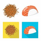 Isolated Object Of Crop And Ecological Logo. Set Of Crop And Cooking Vector Icon For Stock. poster
