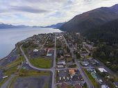 Aerial View Of Seward City Center And Waterfront In Fall, Seward, Kenai Peninsula, Alaska, Usa. Sewa poster