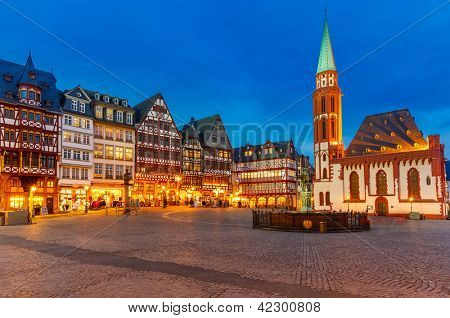 Historic Center of Frankfurt at dusk