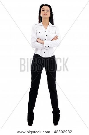 Full Length Pose Of Confident Businesswoman