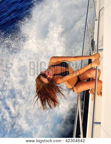 Slim Sexy Brunette Woman In Sunglasses Sailboat Yacht