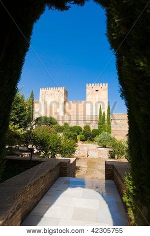 Alhambra De Granada. Alcazaba. Broken And Homage Towers