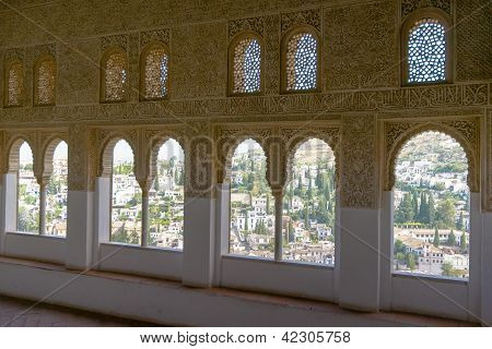 Intricate Window Details Inside The Alhambra Palace In Granada