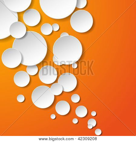 Abstract white paper circles on orange background. Vector eps10 illustration