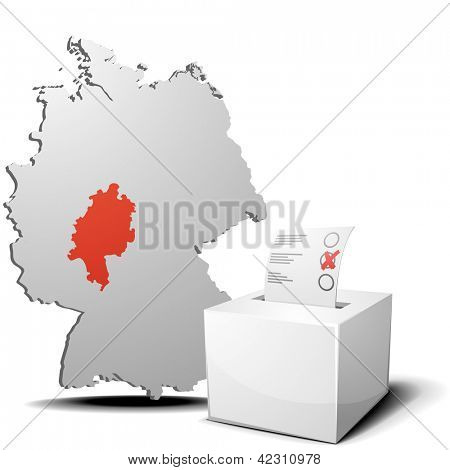 detailed illustration of ballot box in front of a 3D outline of Germany with a red marked province Hessen, eps 10